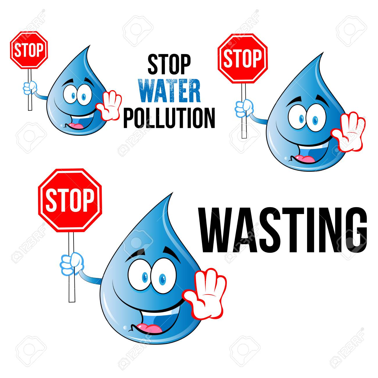 save water slogans with cartoon smily face water drop for t shirt