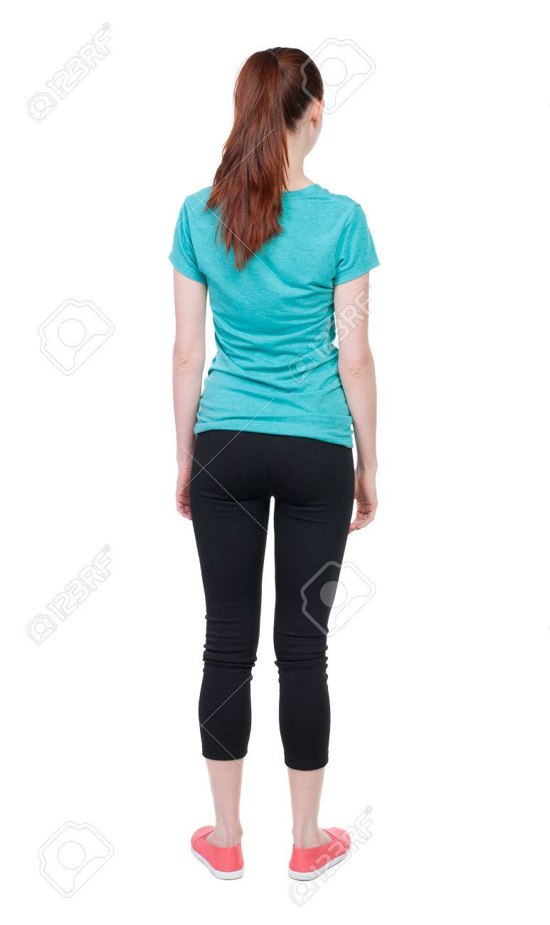 Back View Of Standing Young Beautiful Woman Stock Photo 40243993