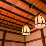 Group Of Vintage Lights Lamps Japanese Style Hanging On Wooden Stock Photo Picture And Royalty Free Image Image 115425592