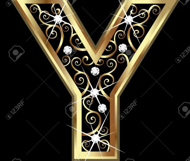 Vector Y Gold Letter With Swirly Ornaments