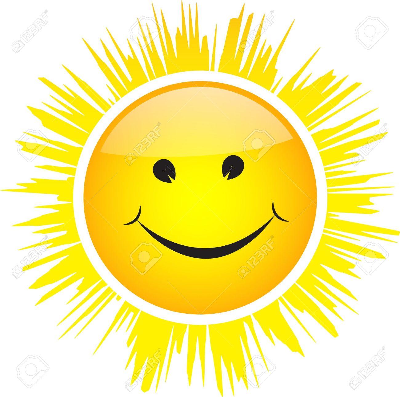 soleil souriant brillant avec les rayons isoles sur fond blanc
