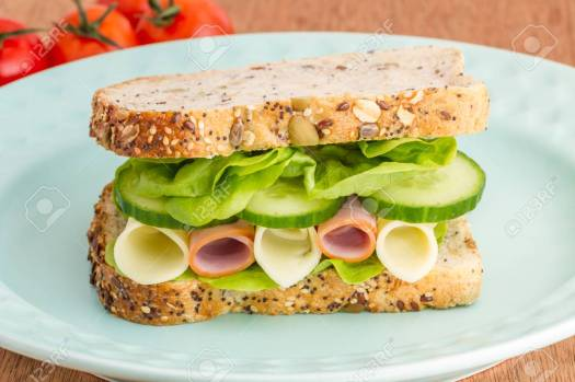 Closed Sandwich On A Plate Stock Photo, Picture And Royalty Free Image. Image 77857588.