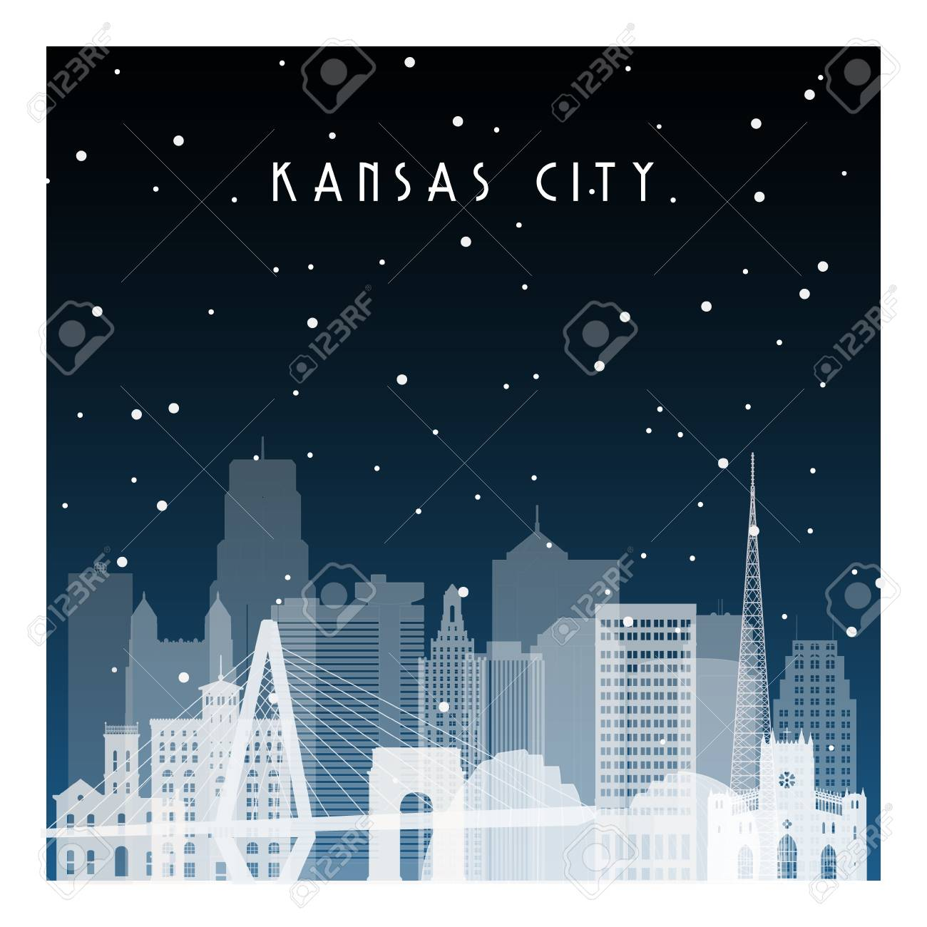 winter night in kansas city night city in flat style for banner