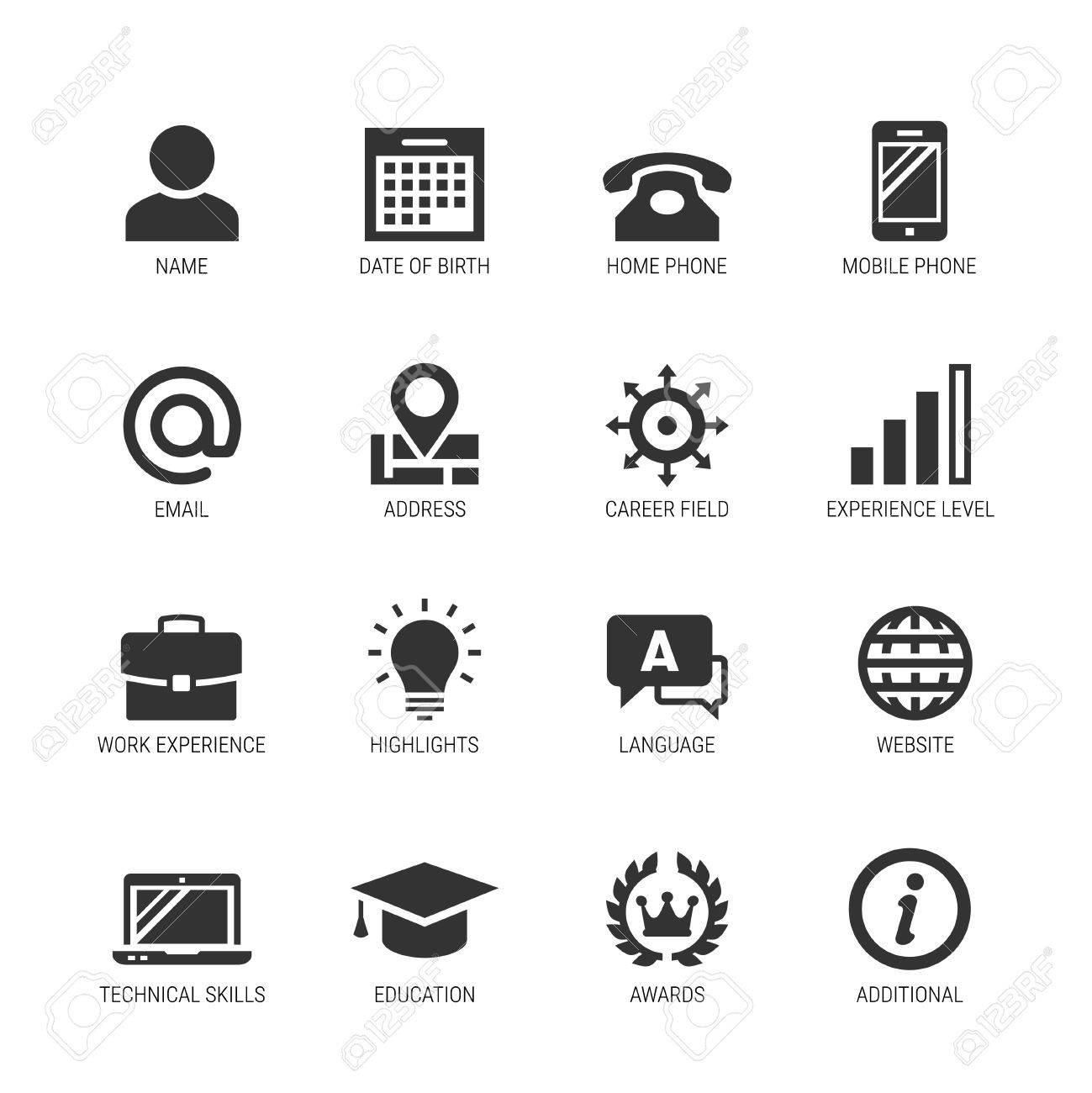 Ensemble D Icones De Vecteur Associe A Curriculum Vitae Ou Curriculum Vitae Clip Art Libres De Droits Vecteurs Et Illustration Image 79110026
