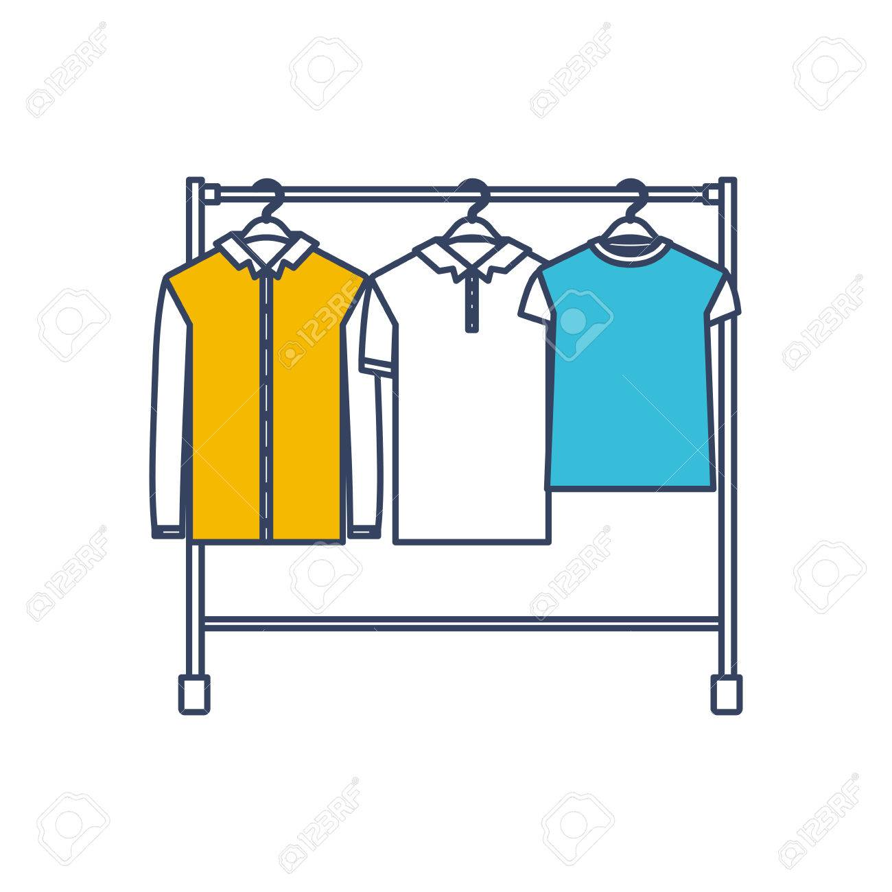 color blue and yellow sections silhouette of male clothes rack