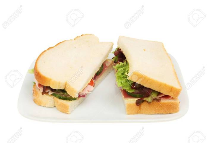 Ham Salad Sandwich Made With White Bread On A Plate Isolated Stock