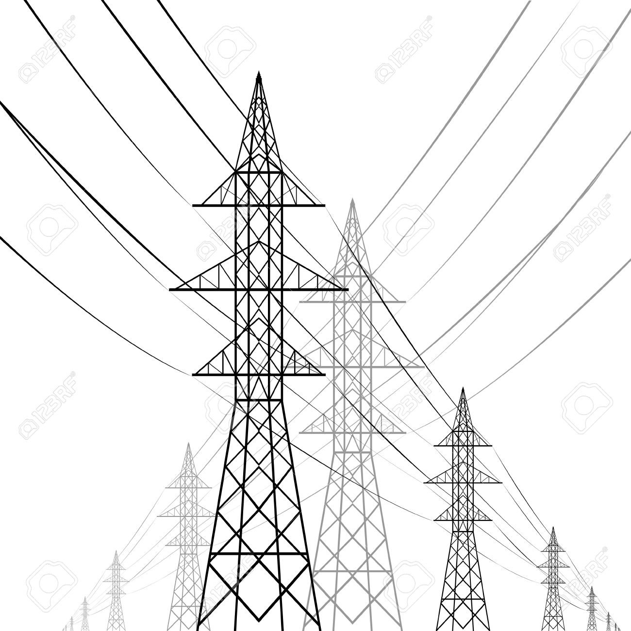 Towers of a high voltage with wires an illustration on a white