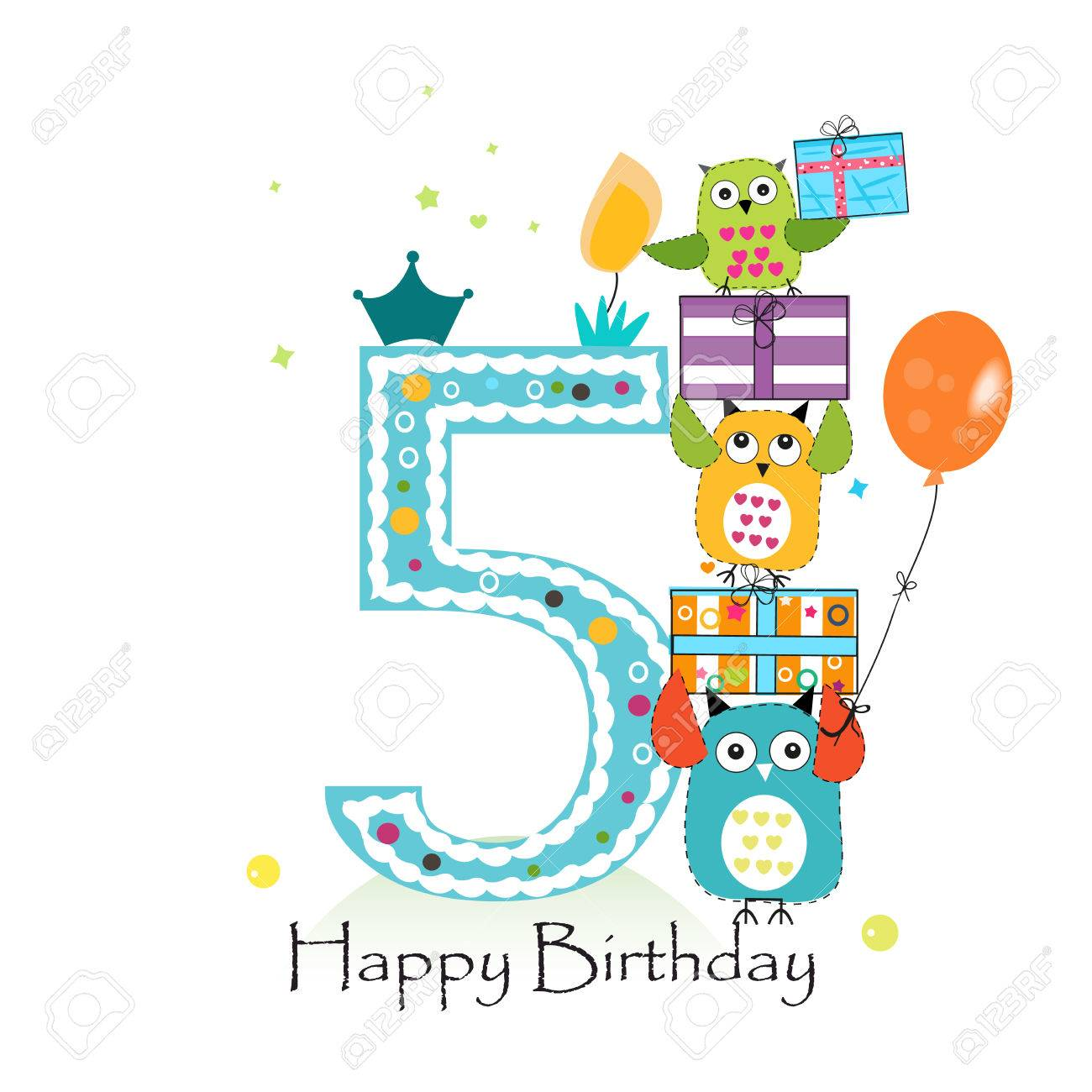 Happy Fifth Birthday With Owls And Gift Box Baby Boy Birthday Royalty Free Cliparts Vectors And Stock Illustration Image 66080303