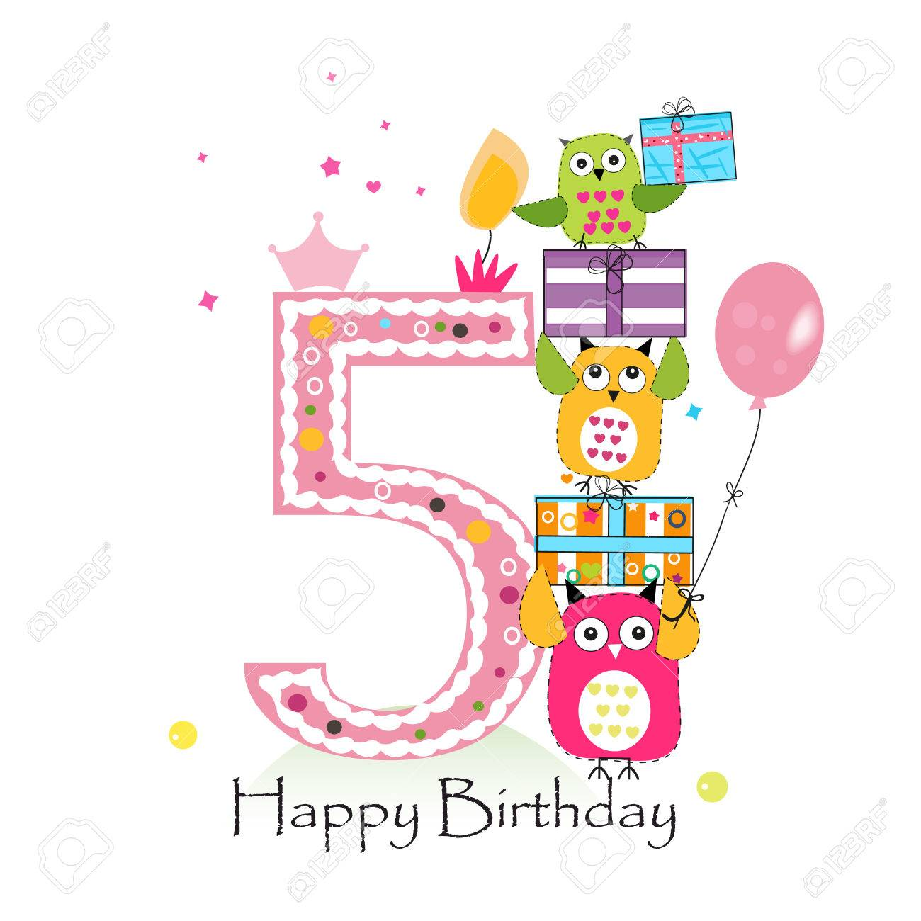 Happy Fifth Birthday With Owls And Gift Box Baby Girl Birthday Royalty Free Cliparts Vectors And Stock Illustration Image 66080316