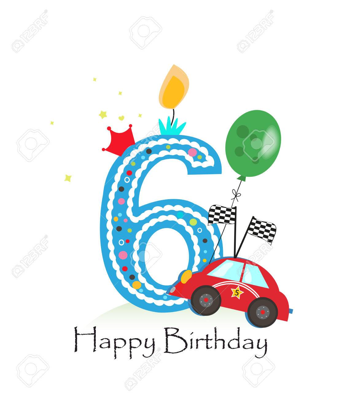 Happy Sixth Birthday Candle Baby Boy Greeting Card With Race Royalty Free Cliparts Vectors And Stock Illustration Image 66080334
