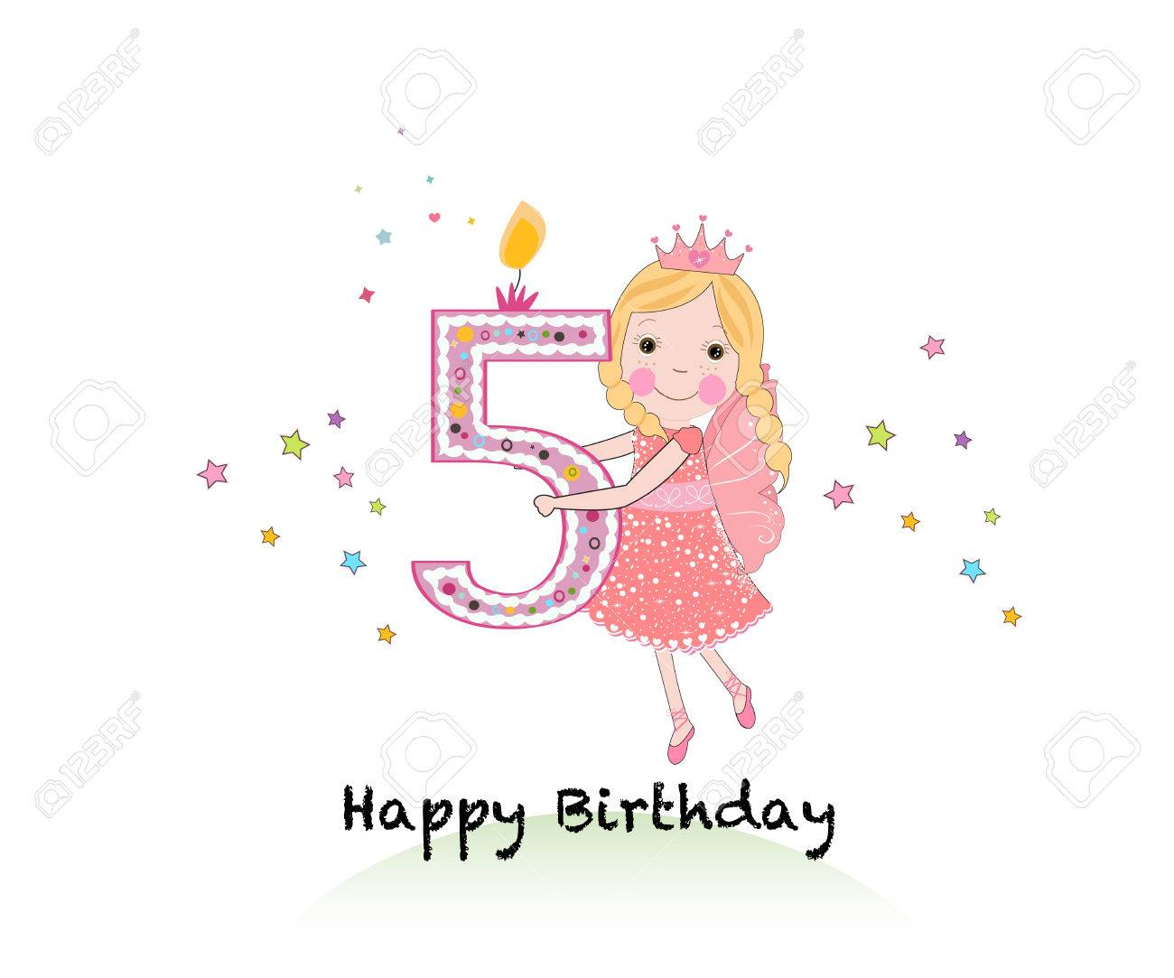 Happy Fifth Birthday Candle Girl Greeting Card With Cute Fairy Royalty Free Cliparts Vectors And Stock Illustration Image 71989926
