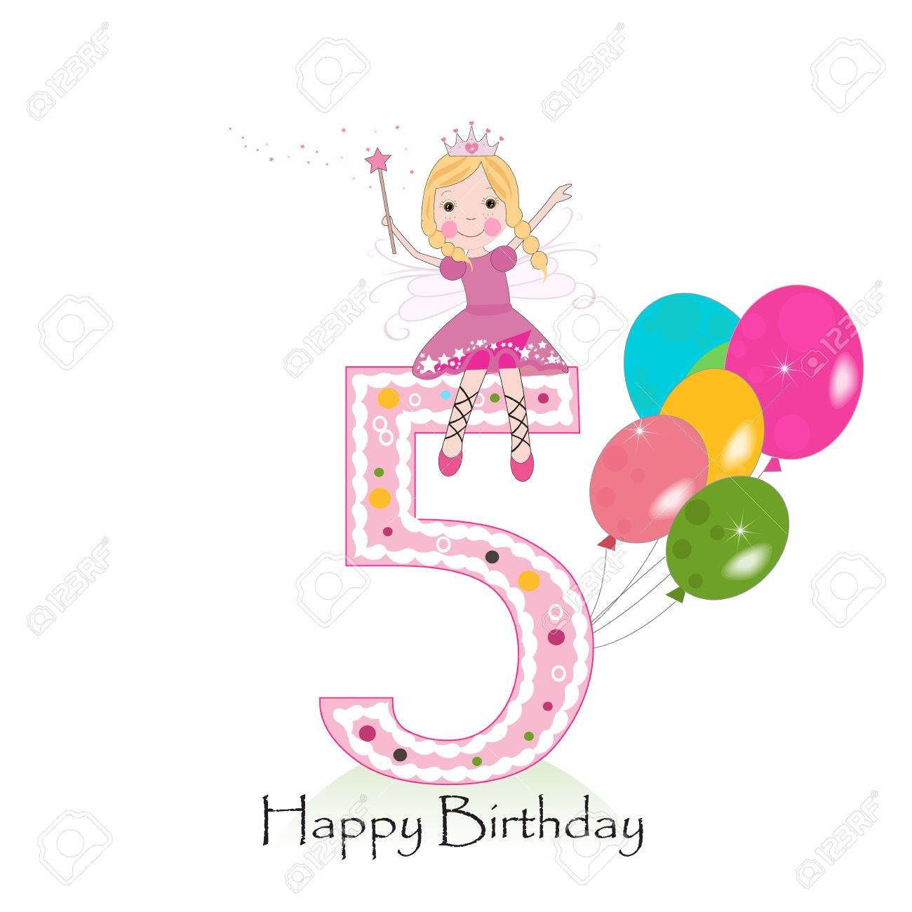 Happy Fifth Birthday Greeting Card With Fairy Tale Royalty Free Cliparts Vectors And Stock Illustration Image 71904951