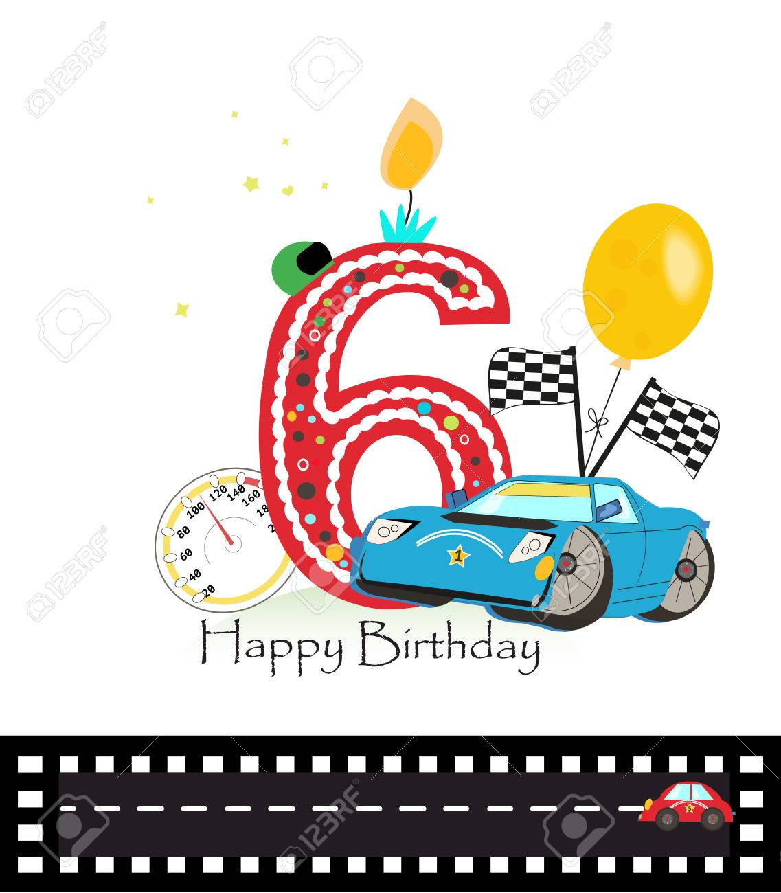 Happy Sixth Birthday Candle Baby Boy Greeting Card With Race Royalty Free Cliparts Vectors And Stock Illustration Image 72092031