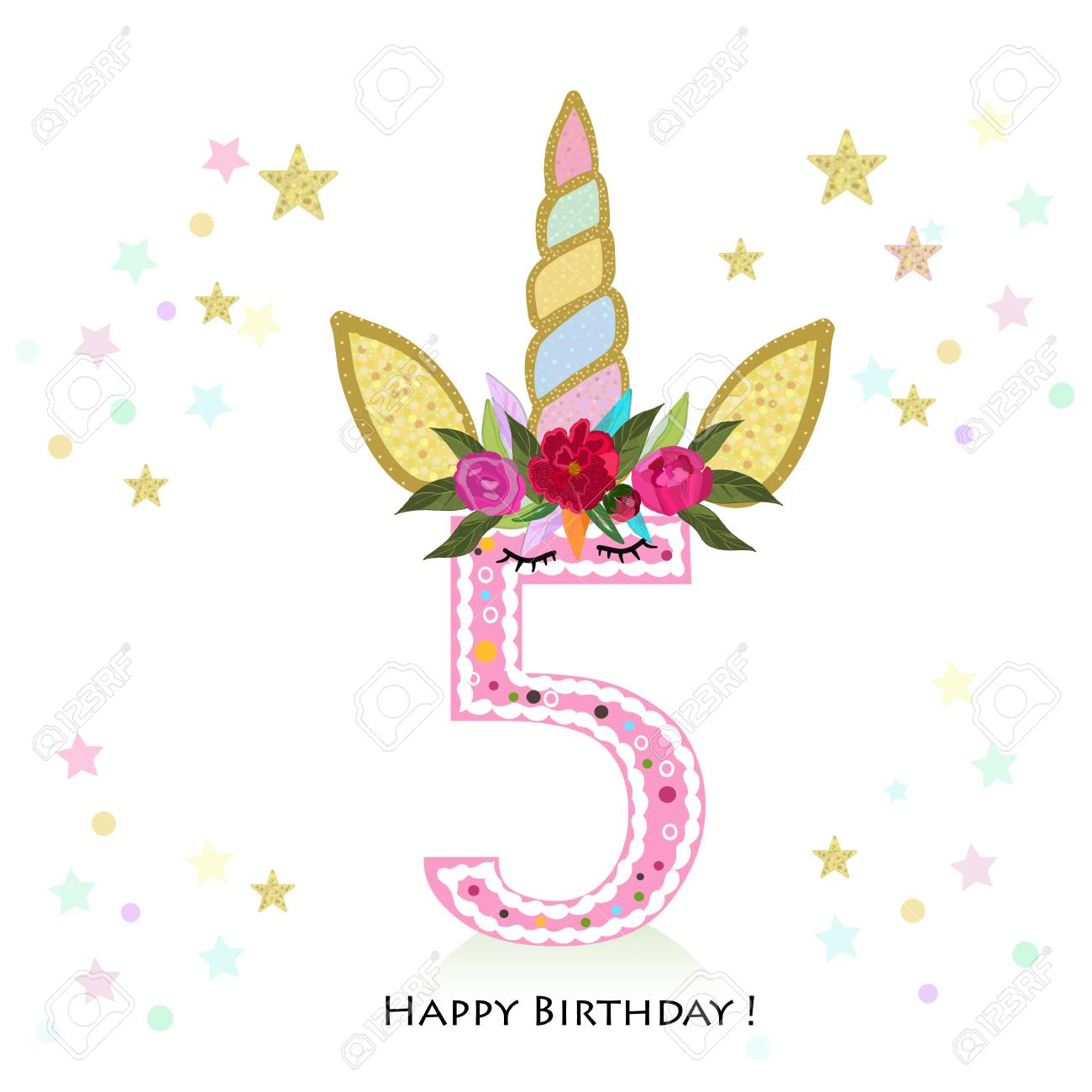 Birthday Greeting Card Design For 5 Year Old Template Royalty Free Cliparts Vectors And Stock Illustration Image 108457195