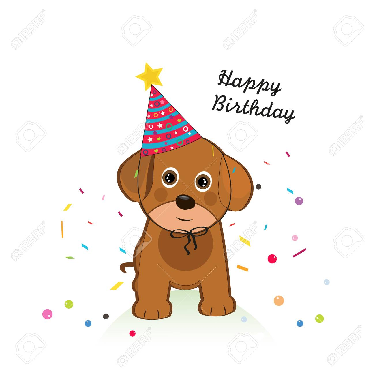 Dog With Balloon And Confetti Happy Birthday Greeting Card Royalty Free Cliparts Vectors And Stock Illustration Image 112532584