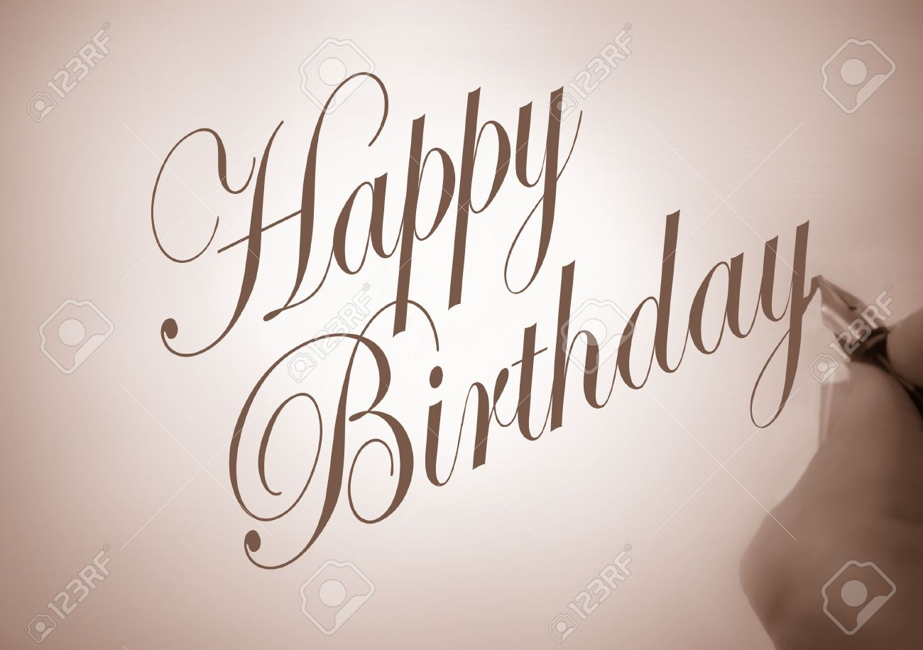 Illustration Of Person Writing Happy Birthday In Calligraphy Stock Photo Picture And Royalty Free Image Image 3762668