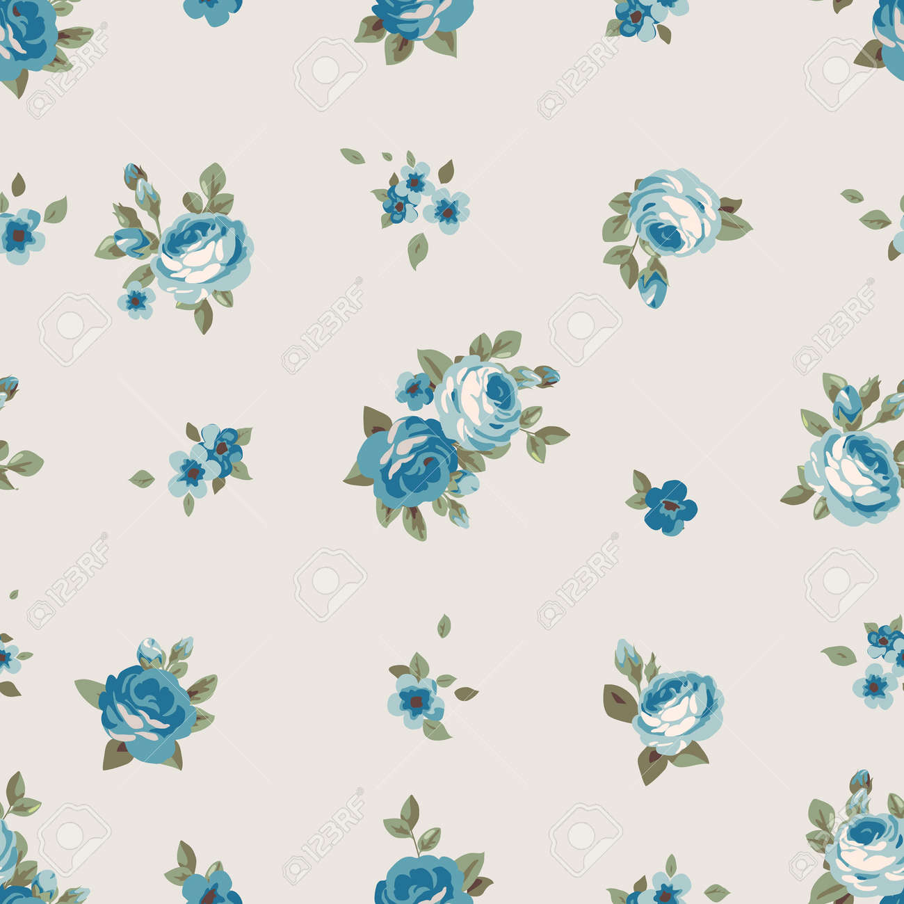 Seamless Pattern With Blue Flowers Vintage Seamless Floral Wallpaper Royalty Free Cliparts Vectors And Stock Illustration Image 59166450