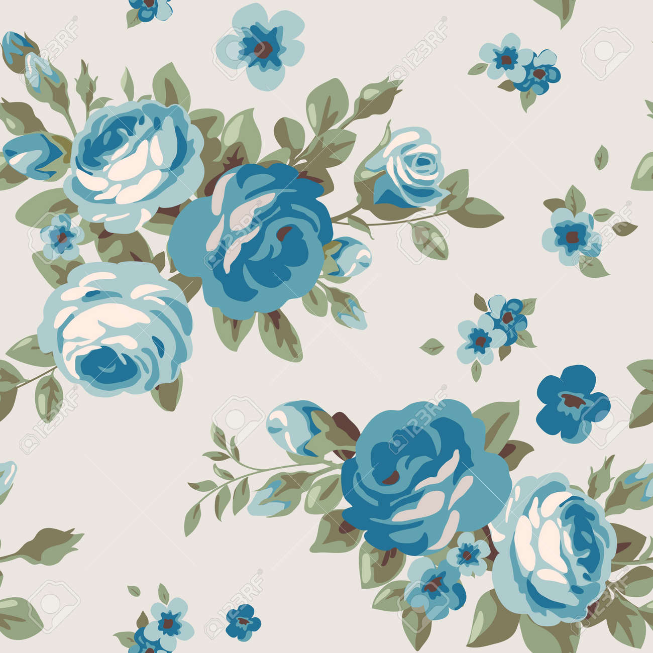 Seamless Pattern With Blue Flowers Vintage Floral Wallpaper Royalty Free Cliparts Vectors And Stock Illustration Image 59166455