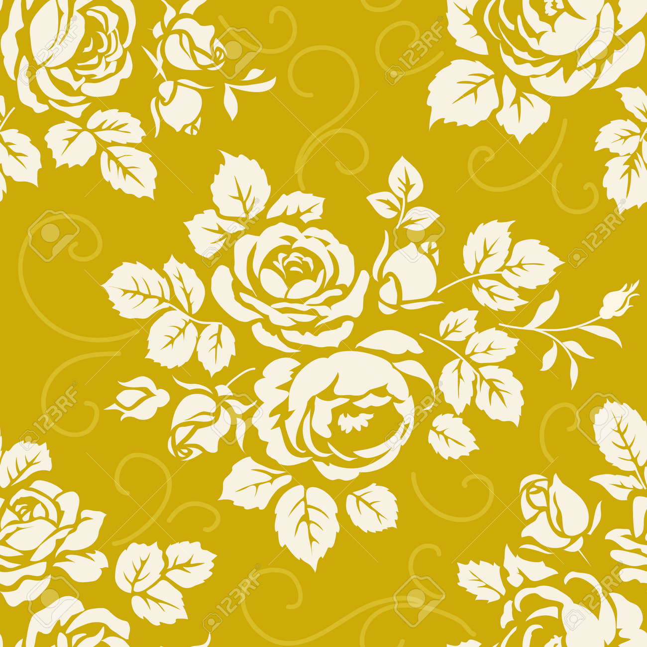 Seamless Pattern With Roses Vintage Background With Blooming Stock Photo Picture And Royalty Free Image Image 68799099