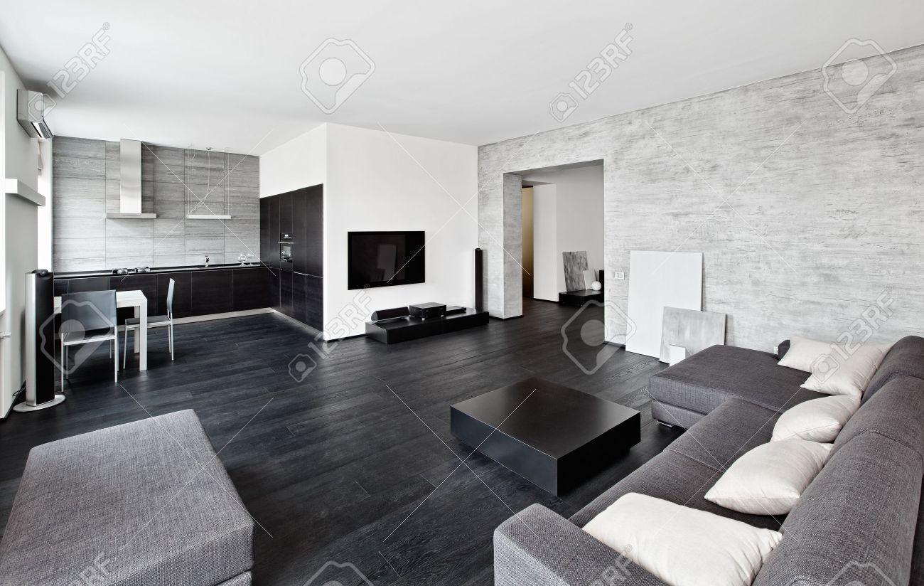 style moderne minimaliste salon interieur dans les tons noir et blanc