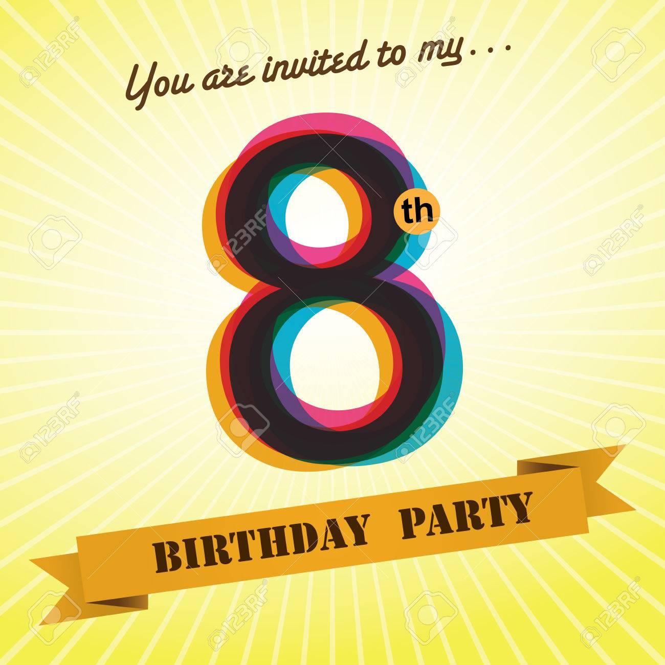 8th birthday party invite template design retro style vector