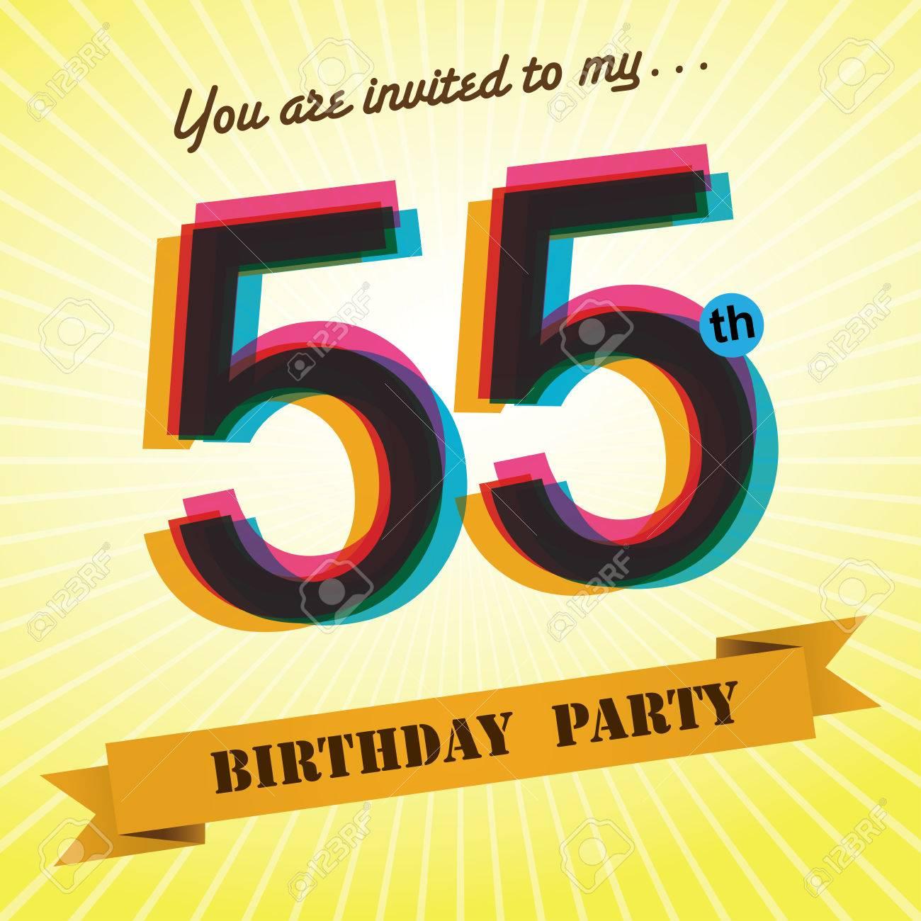 55th birthday party invite template design retro style vector