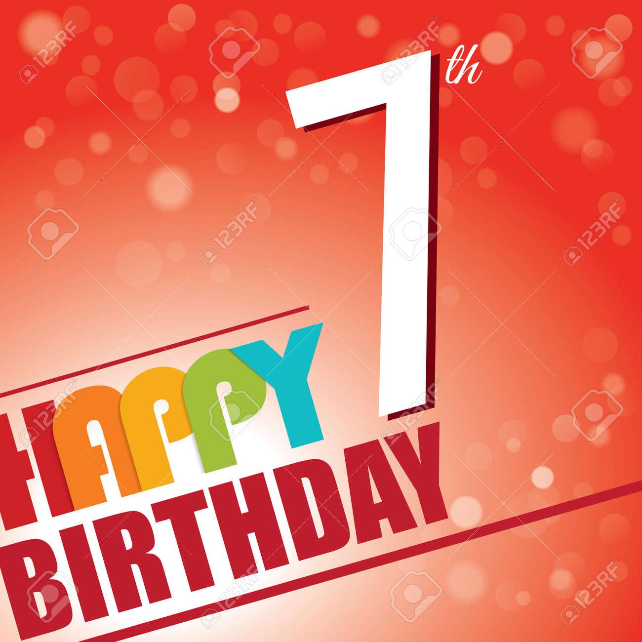 7th birthday party invite template design in bright and colourful