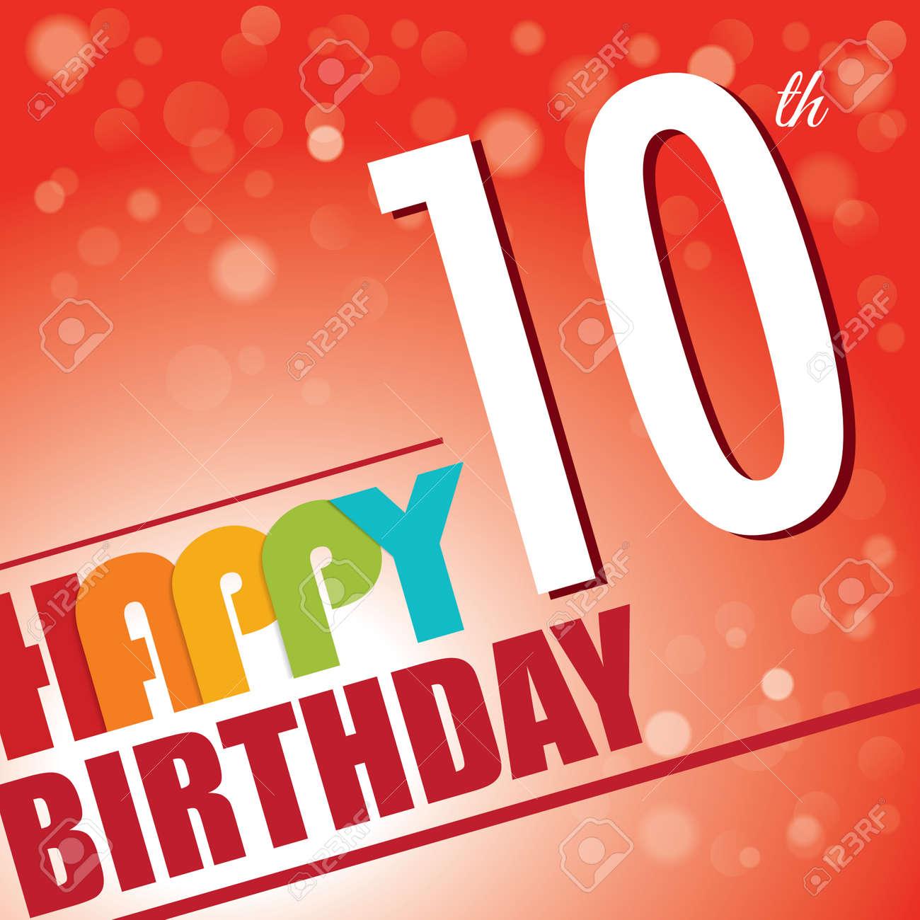 10th birthday party invite template design in bright and colourful