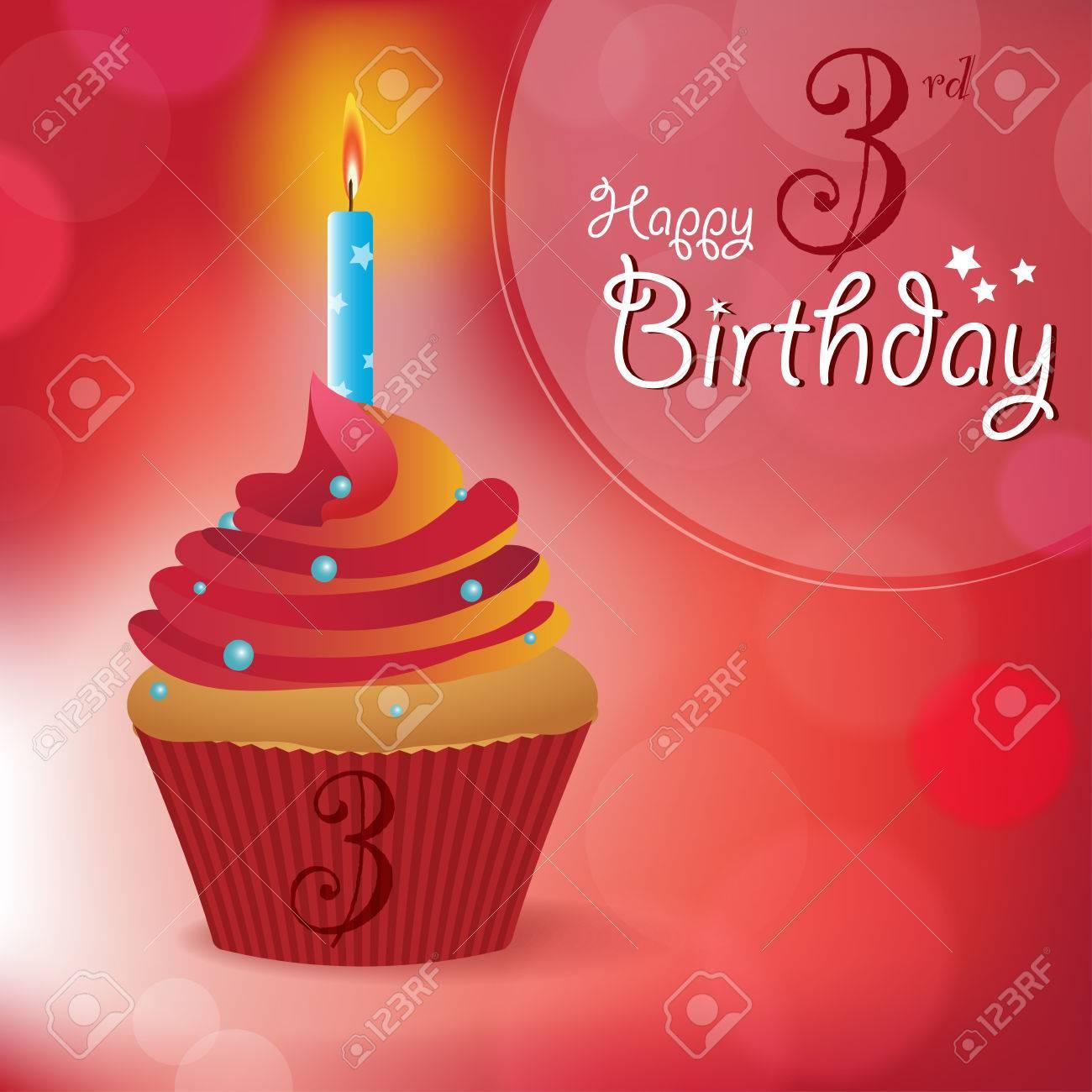 happy 3rd birthday greeting invitation message bokeh vector