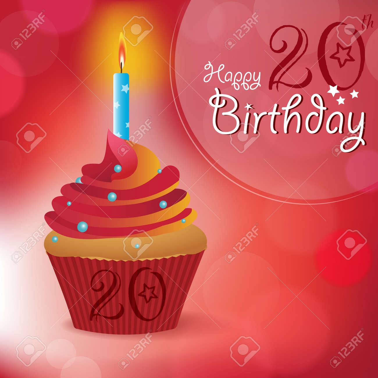happy 20th birthday greeting invitation message bokeh vector