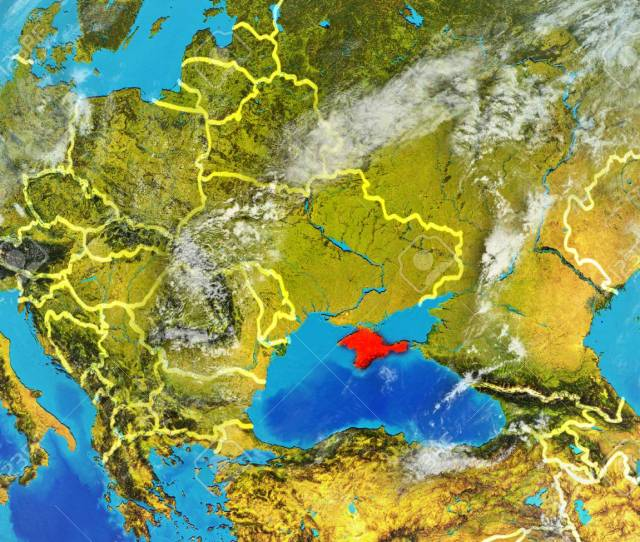 Crimea From Space On Model Of Planet Earth With Country Borders Extremely Fine Detail Of