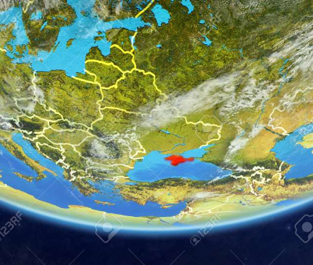 Crimea On Realistic Model Of Planet Earth With Country Borders And Very Detailed Planet Surface And