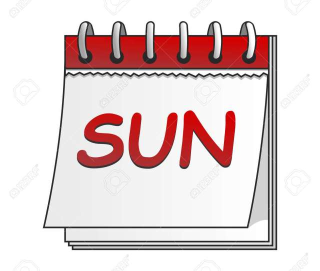 Vector Vector Cartoon Daily Calendar Of Sunday Isolated On White Background