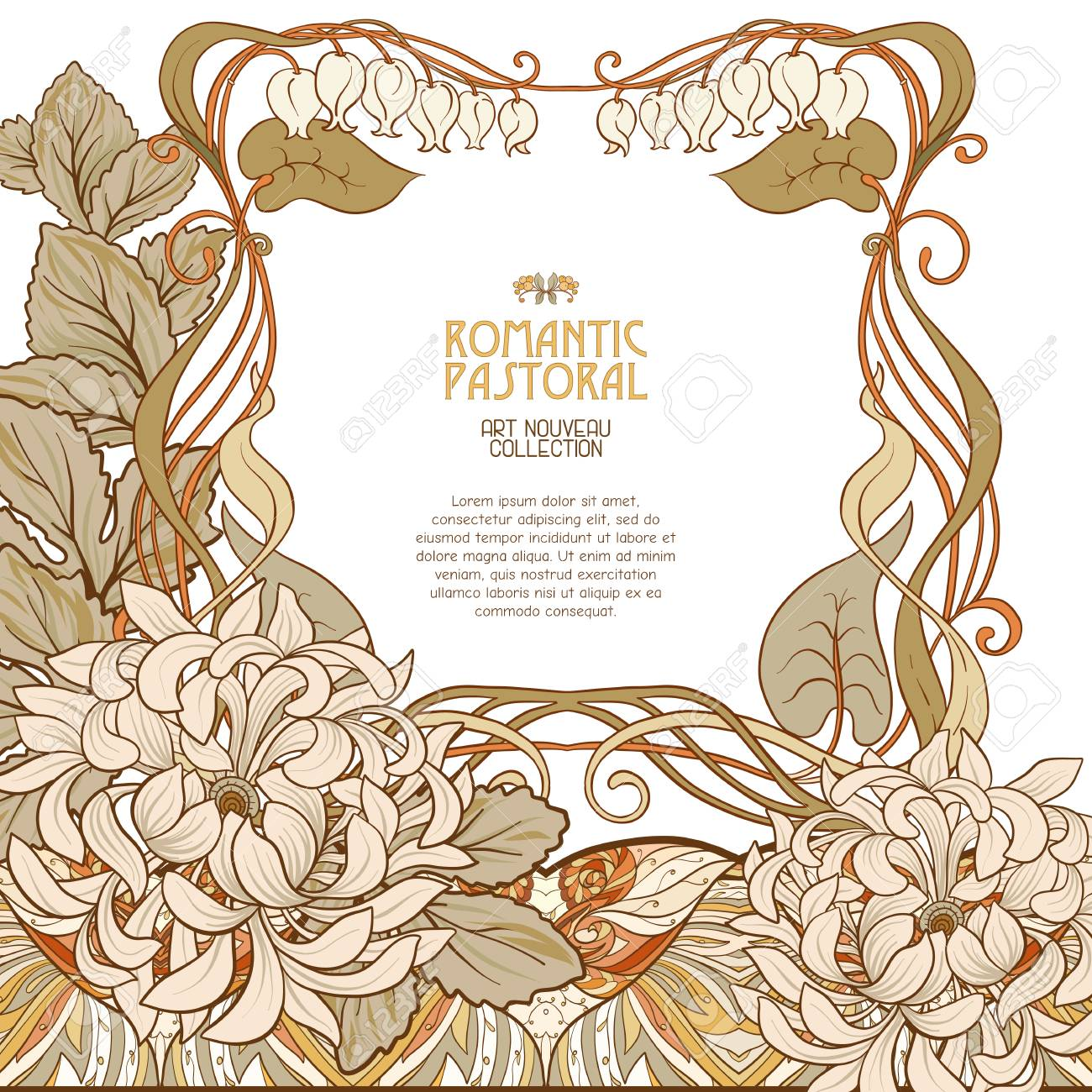 decorative flowers in art nouveau style