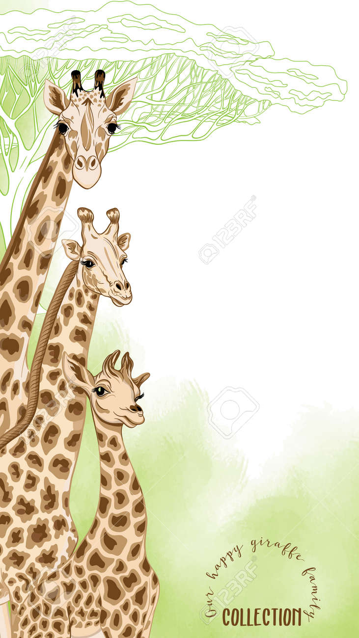 background with giraffe family good for greeting card for birthday