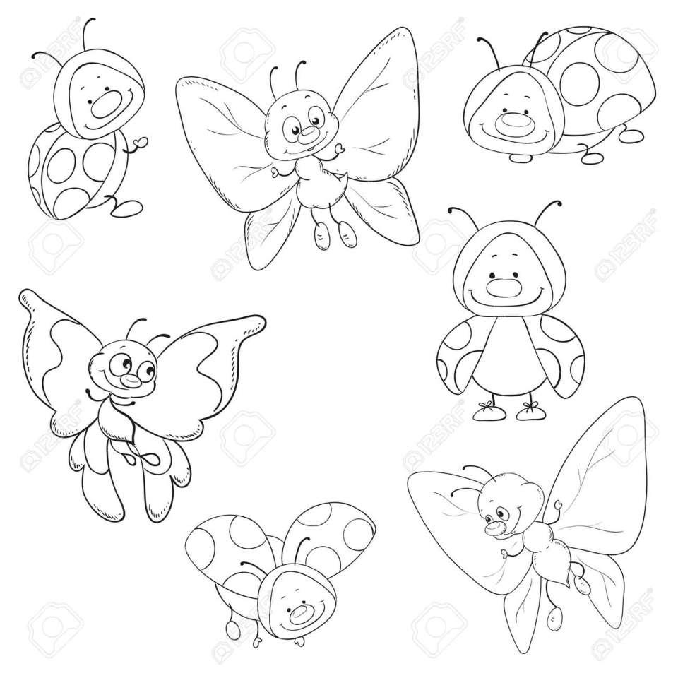 媒介昆虫蝶のセットとてんとう虫の塗り絵。のイラスト素材・ベクタ