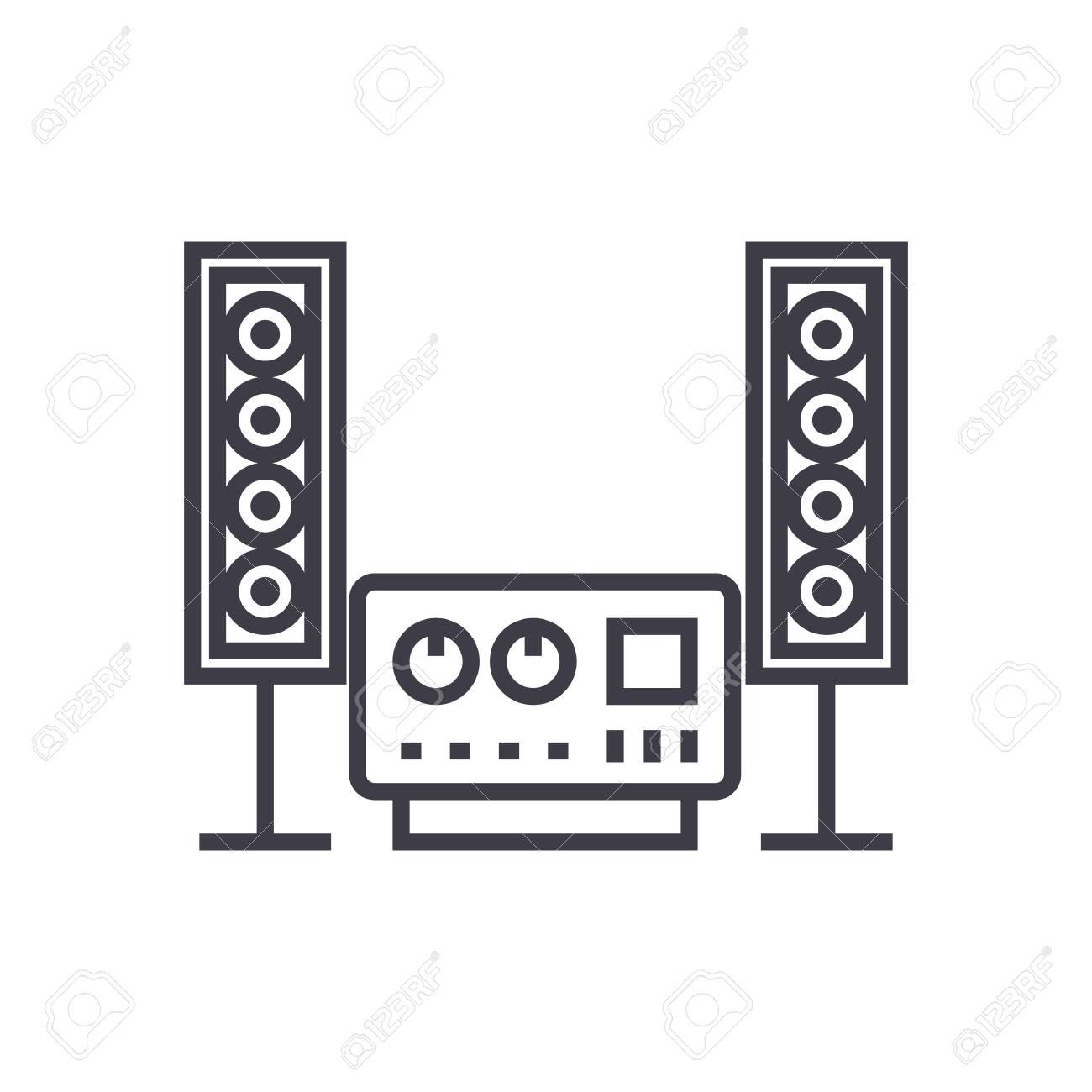 stereo son icone de ligne vectorielle de systeme hi fi signe illustration sur fond blanc coups modifiables