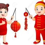 Cartoon Chinese Kids Holding A Lanterns And Firecrackers Royalty Free Cliparts Vectors And Stock Illustration Image 116188461