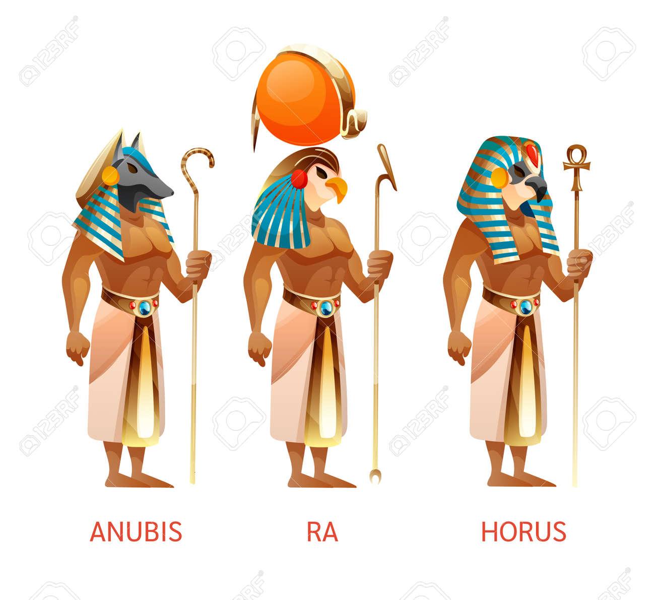 Ancient Egyptian Gods Ra Horus Anubis From Egyptian Mythology Royalty Free Cliparts Vectors And Stock Illustration Image 134400461