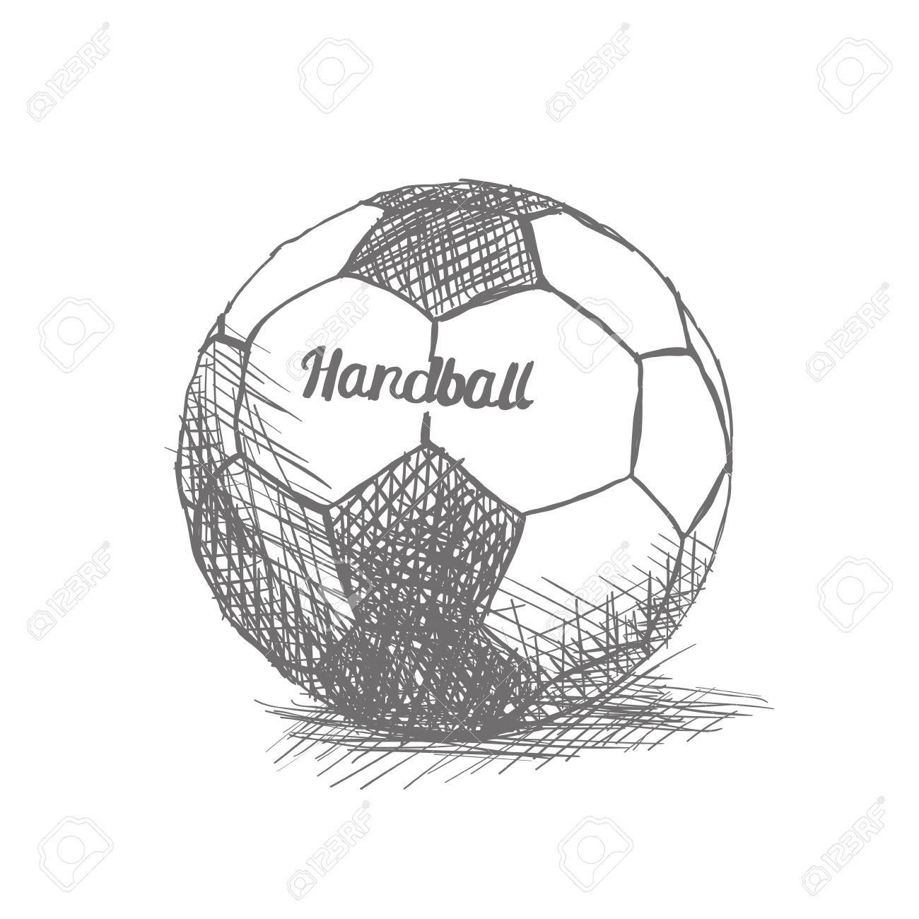 isolierte skizze eines handball ball auf einem weissen hintergrund