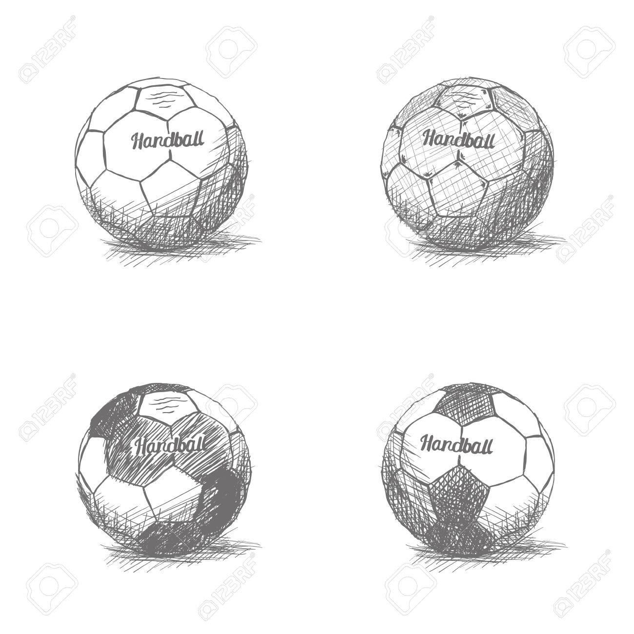 set von skizzen von handball balle auf einem weissen hintergrund