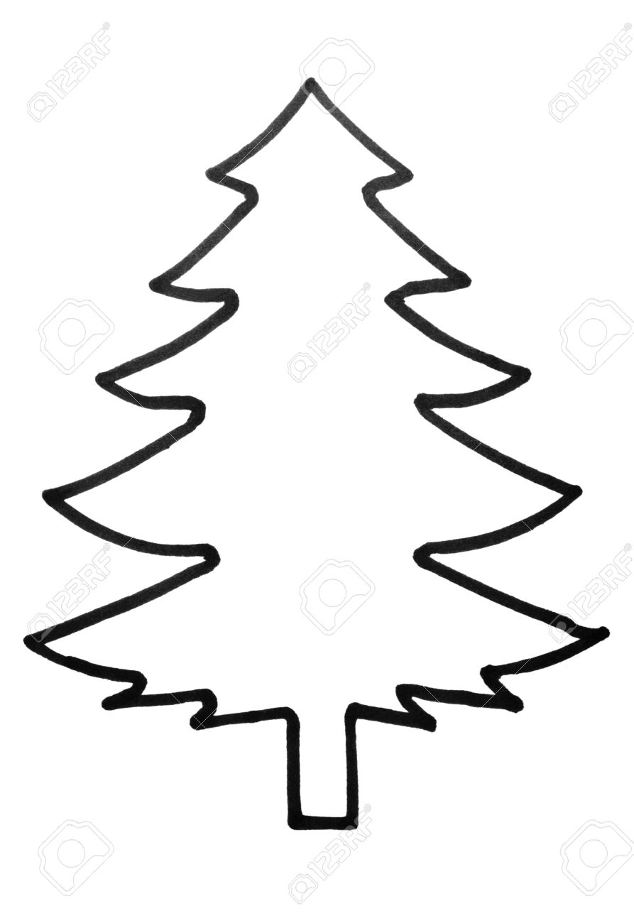 Outline Of A Christmas Tree Stock Photo Picture And Royalty Free Image Image 10234779