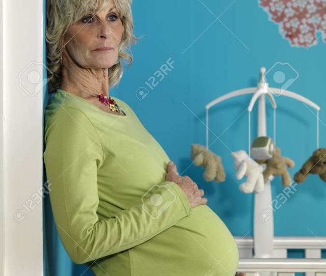 Pregnant Mature Woman Stock Photo