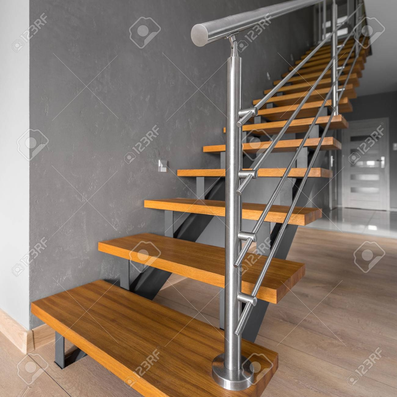 New Home Interior In Grey With Simple Wooden Staircase With Steel   Metal And Wood Stairs   Straight   Diy   Residential   Rustic   Stair Railing