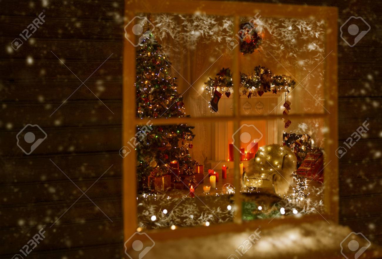 Christmas Window Holiday Home Lights Room Decorated By Xmas Stock Photo Picture And Royalty Free Image Image 47419764