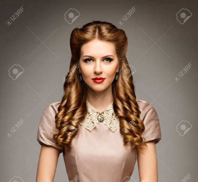 fashion model retro hairstyle, elegant woman old fashioned curly..