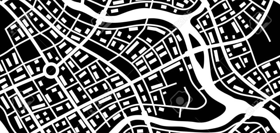 Abstract City Map Banner  Black And White Illustration Of Streets     Abstract city map banner  Black and white illustration of streets  roads  and buildings