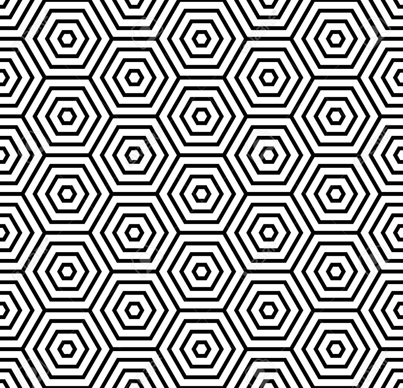 black and white hexagons and striped lines seamless pattern