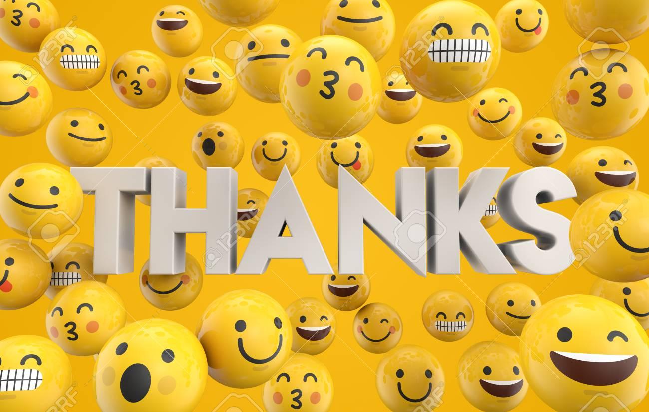 Satz Emoji Emoticoncharakter Stellt Mit Dem Wort Dank Wiedergabe
