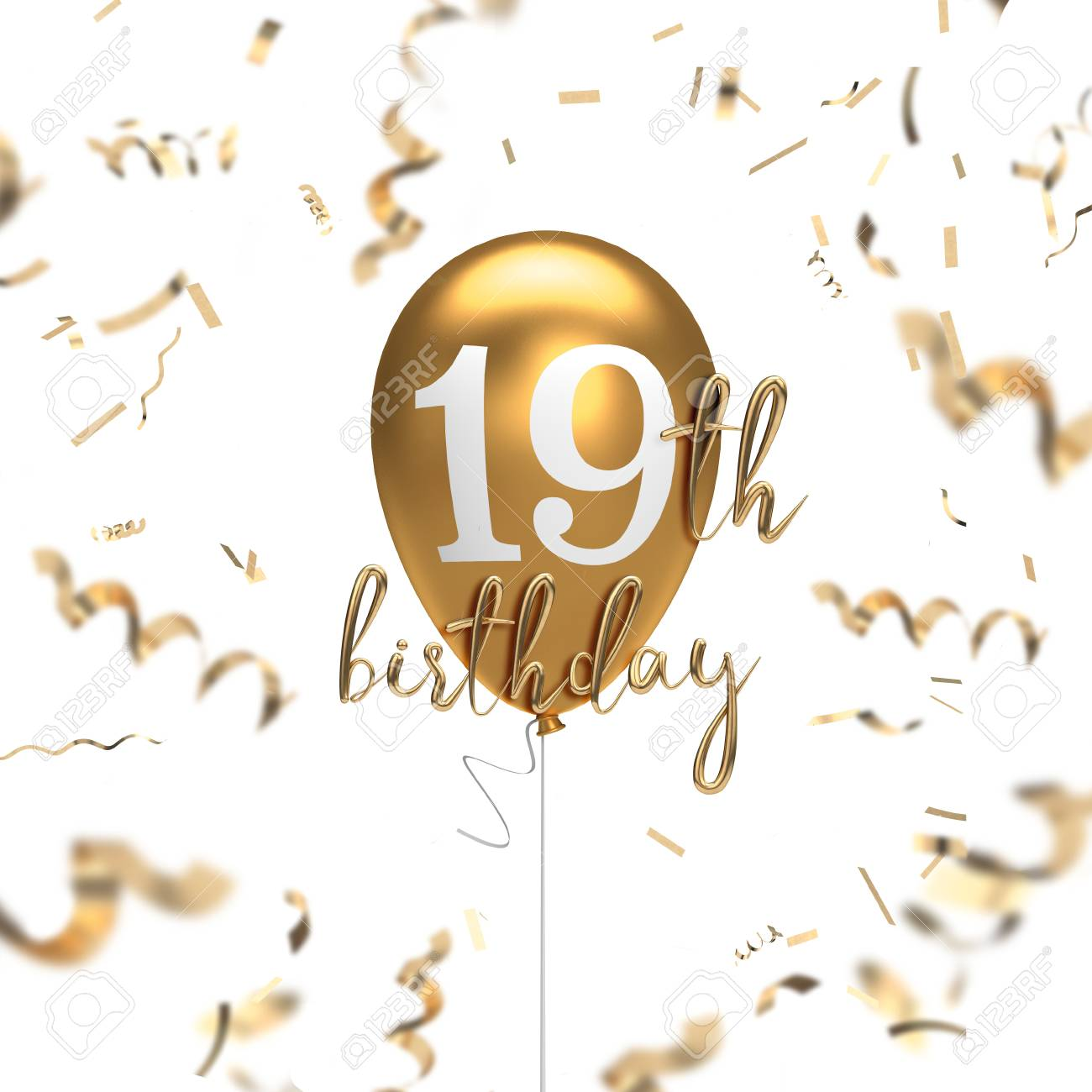 Happy 19th Birthday Gold Balloon Greeting Background 3d Rendering Stock Photo Picture And Royalty Free Image Image 105639550